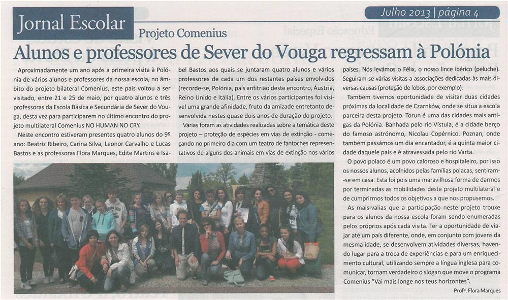 JE-jul13-p4-Alunos e professores de Sever do Vouga regressam à Polónia