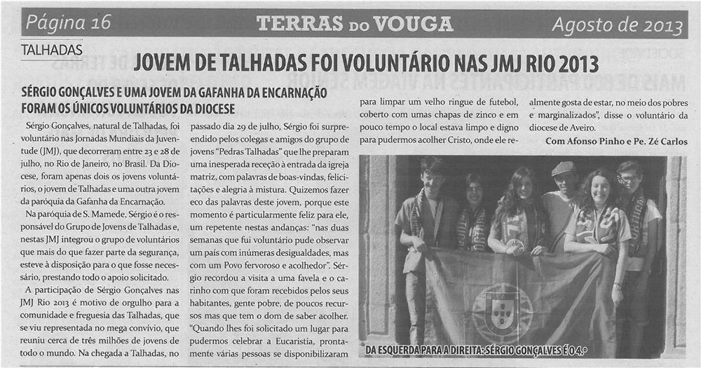 TV-ago13-p16-Jovem de Talhadas foi voluntário nas JMJ Rio 2013