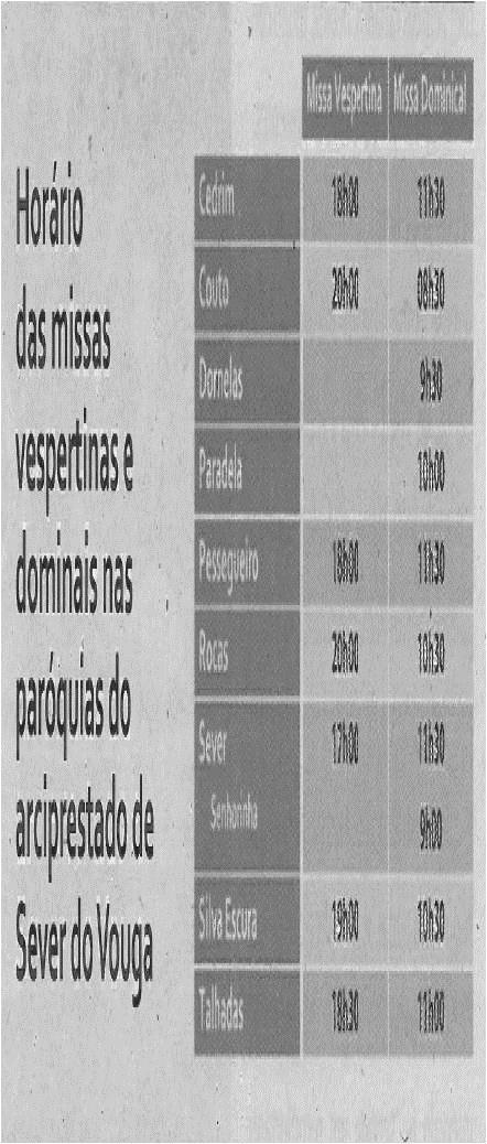 TV-nov13-p14-Horário das missas vespertinas e dominicais nas paróquias do arciprestado de Sever do Vouga