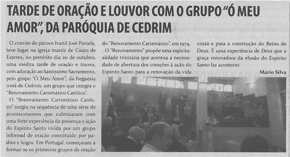 TV-nov13-p12-Tarde de oração e louvor com o Grupo Ó Meu Amor, da Paróquia de Cedrim