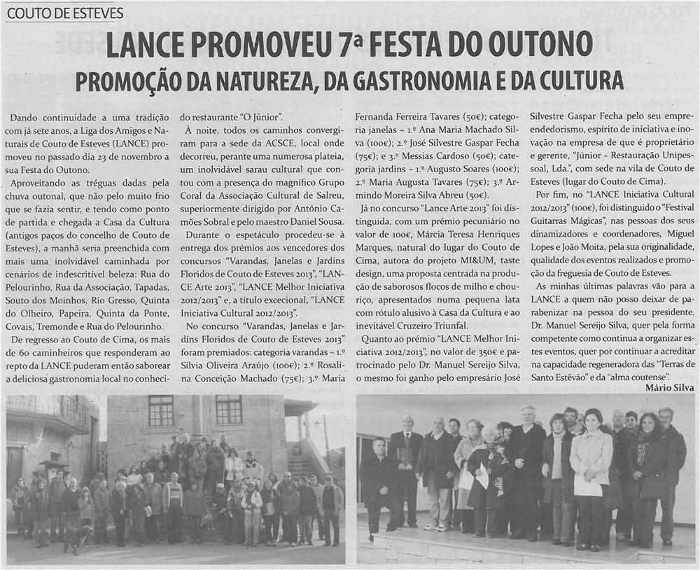 TV-dez13-p11-LANCE promoveu 7.ª Festa do Outono : promoção da natureza, da gastronomia e da cultura