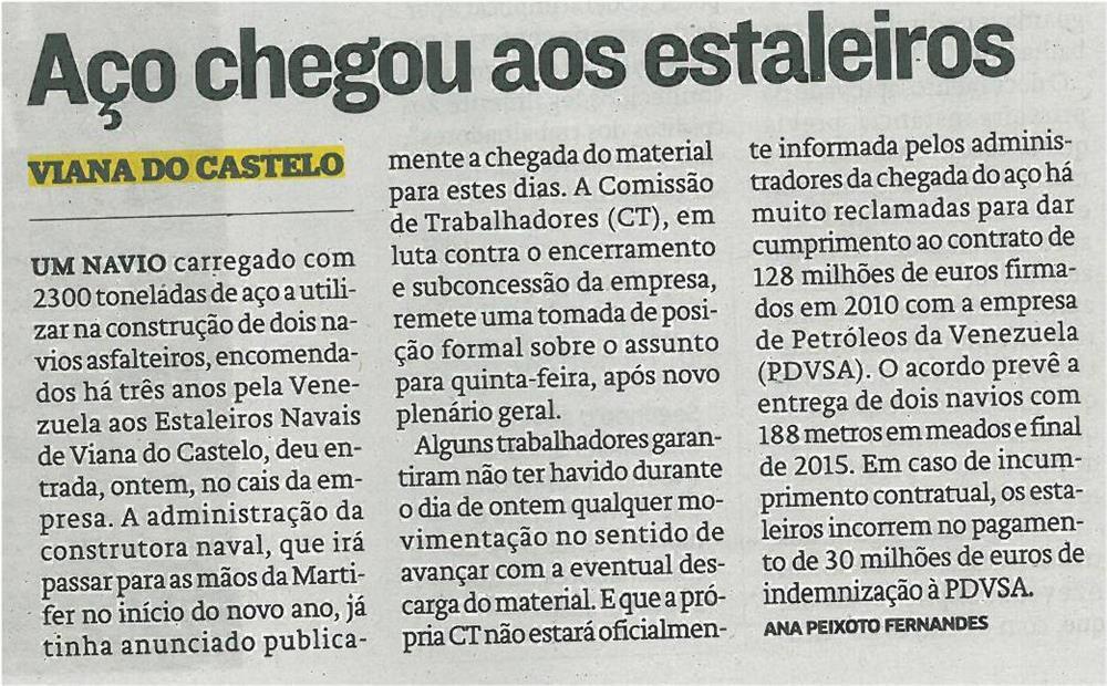 JN-31dez13-p24-Aço chegou aos Estaleiros