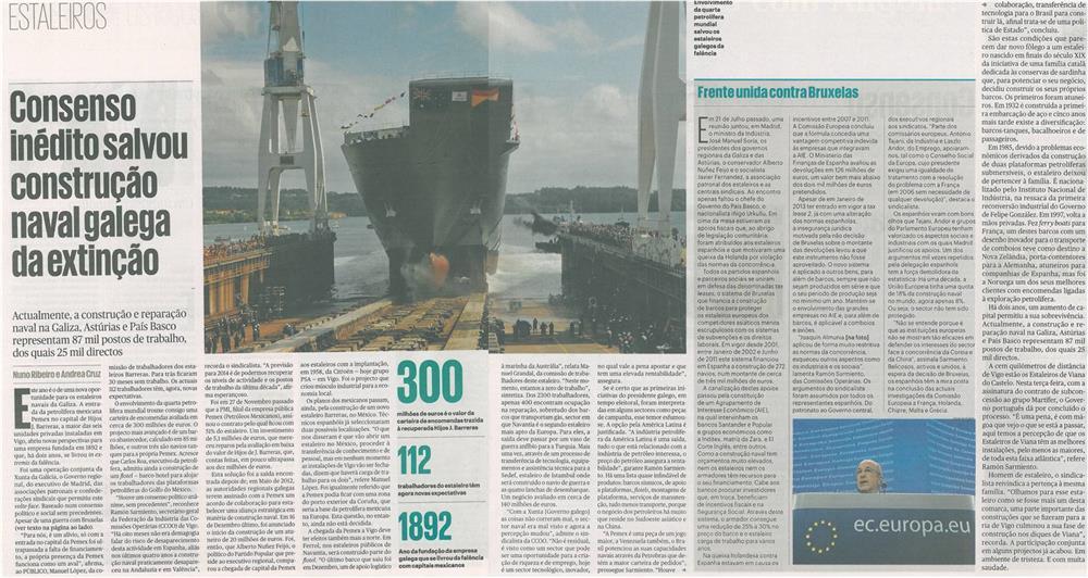 Público-5jan14-p8,9,10-Consenso inédito salvou construção naval galega da extinção : Estaleiros