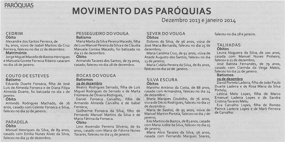 TV-fev14-p16-Movimento das paróquias : dezembro 2013 e janeiro 2014