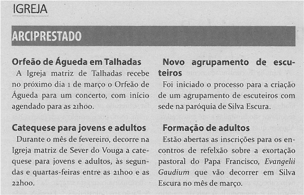 TV-fev14-p16-Arciprestado - Orfeão de Águeda em Talhadas : catequese para jovens e adultos : novo agrupamento de escuteiros : formação de adultos