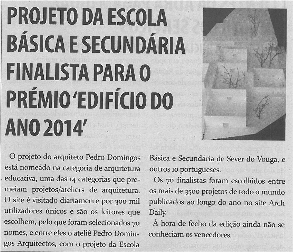 TV-fev14-p10-Projeto da Escola Básica e Secundária finalista para o prémio Edifício do Ano 2014