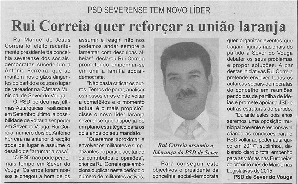 BV-1ªfev'14-p4-Rui Correia quer reforçar a união laranja : PSD severense tem novo líder