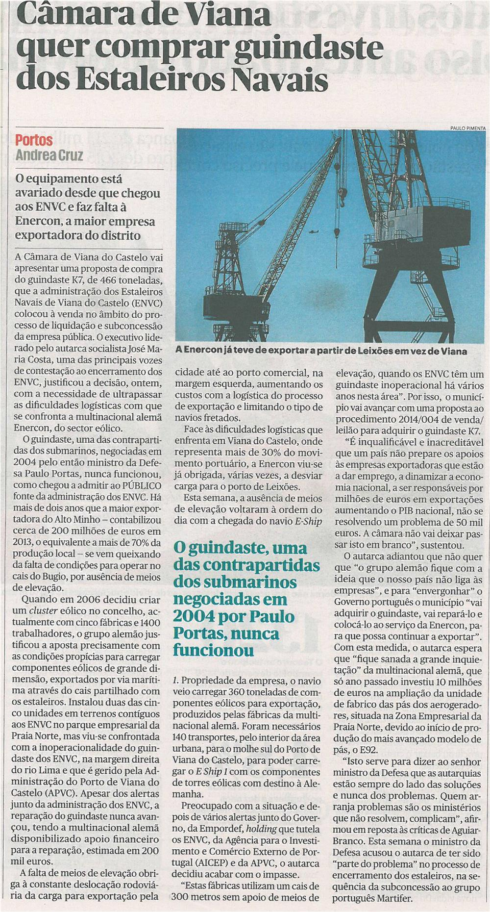 Público-28fev14-p13-Câmara de Viana quer comprar guindaste dos Estaleiros Navais