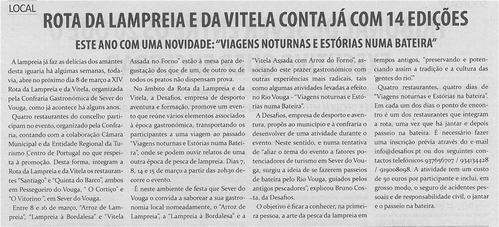 TV-mar14-p6-Rota da Lampreia e da Vitela conta já com 14 edições