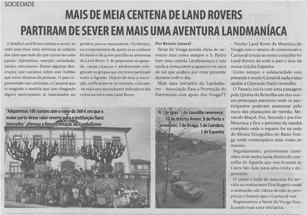 TV-mar14-p10-Mais de meia centena de Land Rovers partiram de Sever em mais uma aventura Landmaníaca
