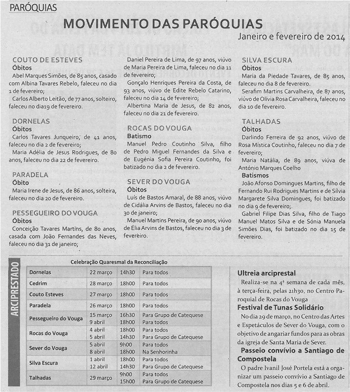 TV-mar14-p16-Movimento das paróquias : janeiro e fevereiro