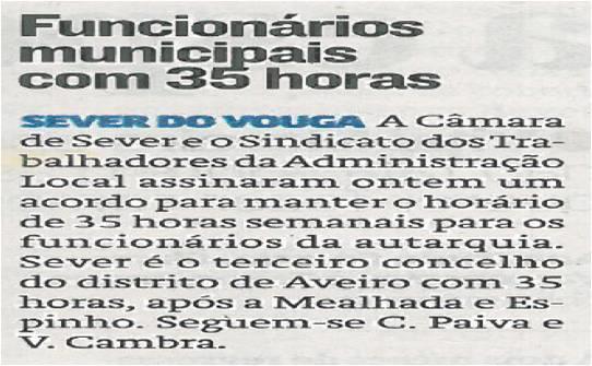 JN-27mar14-p27-Funcionários municipais com 35 horas : Sever do Vouga