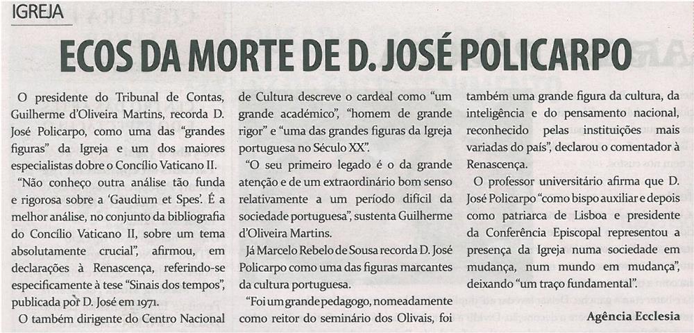 JPEG: TV-abr14-p16-Ecos da morte de D. José Policarpo