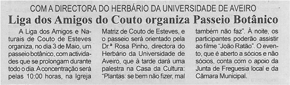 JPEG: BV-2ªabr'14-p4-Liga dos Amigos do Couto organiza passeio botânico : com a Directora do Herbário da Universidade de Aveiro