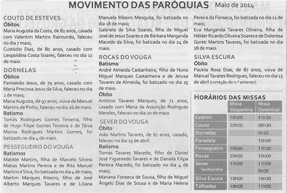 TV-jun14-p16-Movimento das Paróquias : maio 2014 : horários das missas