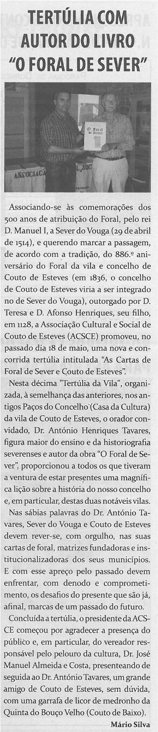 TV-jun14-p11-Tertúlia com autor do livro 'O Foral de Sever' - JPG