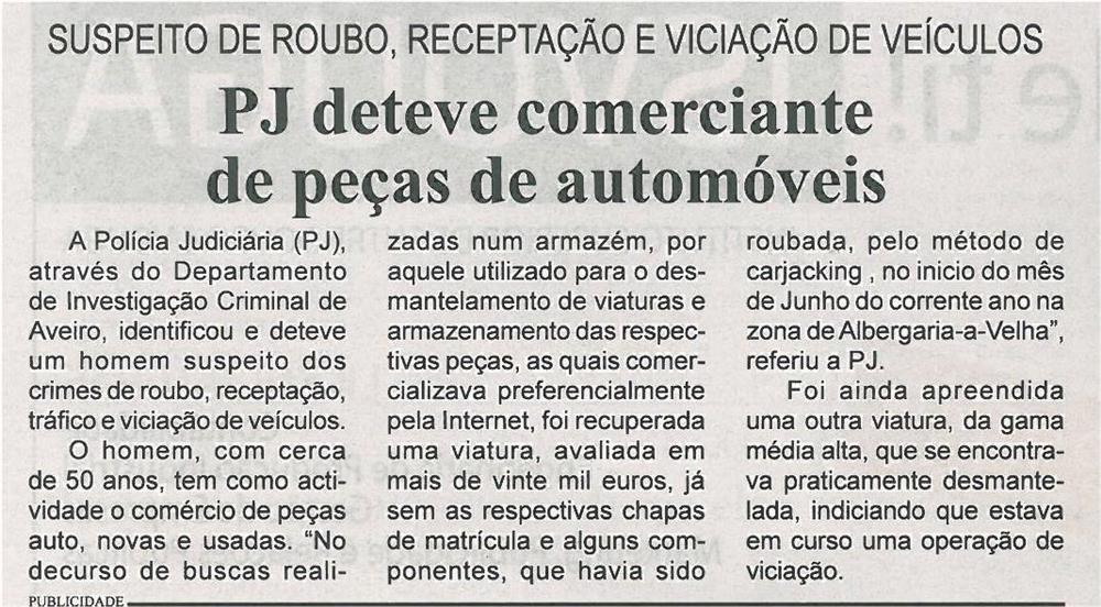BV-1ªago'14-p9-PJ deteve comerciante de peças automóveis : suspeito de roubo, receptação e viciação de veículos - JPG