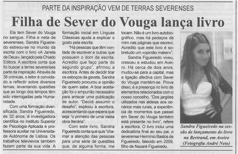 Filha de Sever do Vouga lança livro : parte da inspiração vem de terras severenses.jpg