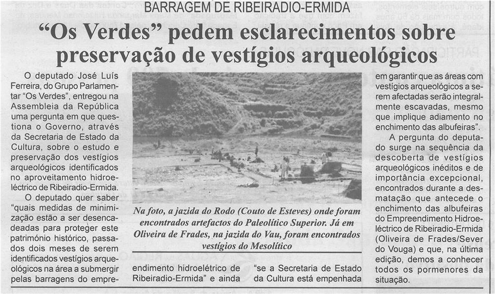 BV-1.ªout.'14-p6-Os Verdes pedem esclarecimentos sobre preservação de vestígios arqueológicos : Barragem de Ribeiradio-Ermida.jpg
