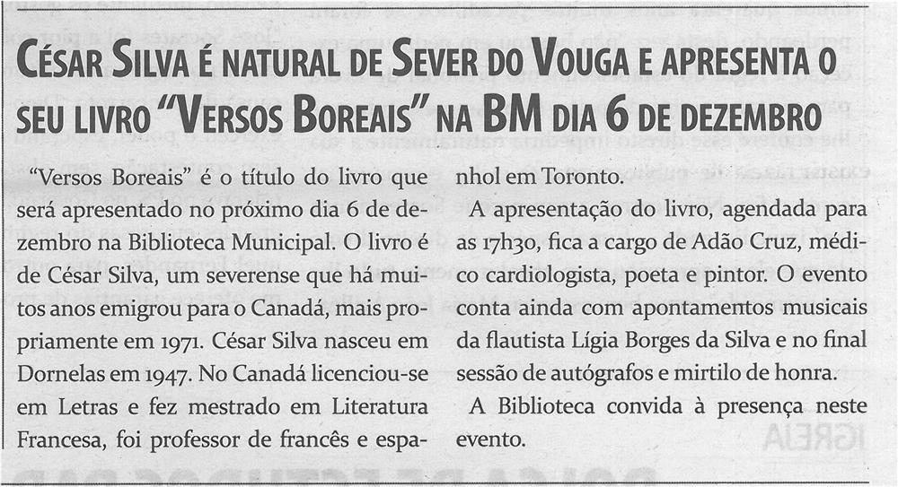 TV-dez.'14-p.4-César Silva é natural de Sever do Vouga e apresenta o seu livro Versos Boreais na BM dia 6 de dezembro.jpg
