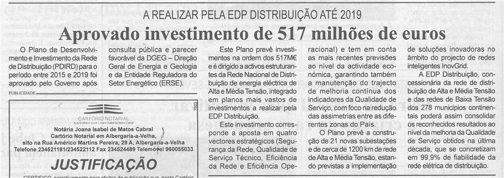BV-1.ªago.'15-p.6-Aprovado investimento de 517 milhões de euros : a realizar pela EDP Distribuição até 2019.jpg