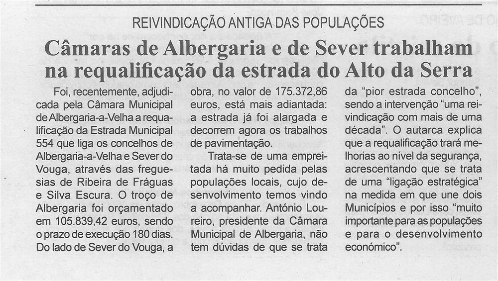 BV-1.ªdez.'15-p.6-Câmaras de Albergaria e de Sever trabalham na requalificação da estrada do Alto da Serra : reivindicação antiga das populações.jpg