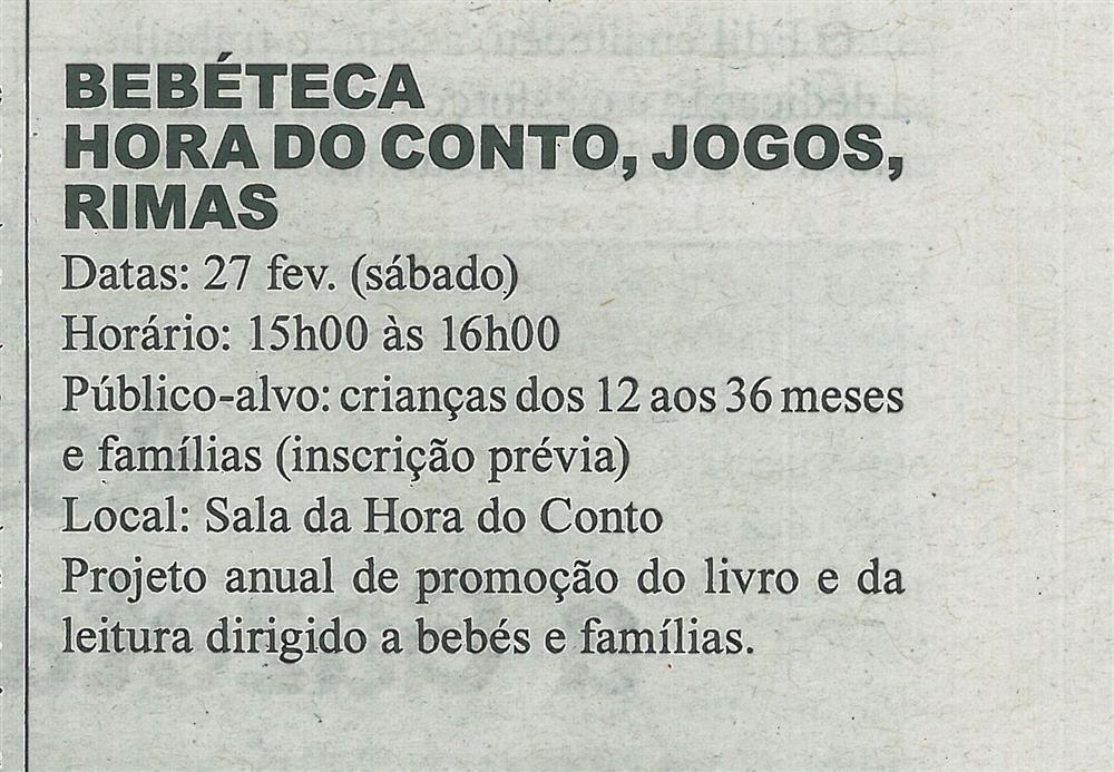 GB-11fev.'16-p.12-Cartaz Biblioteca Municipal de Sever do Vouga : fevereiro : Bebéteca : Hora do Conto : jogos : rimas.jpg