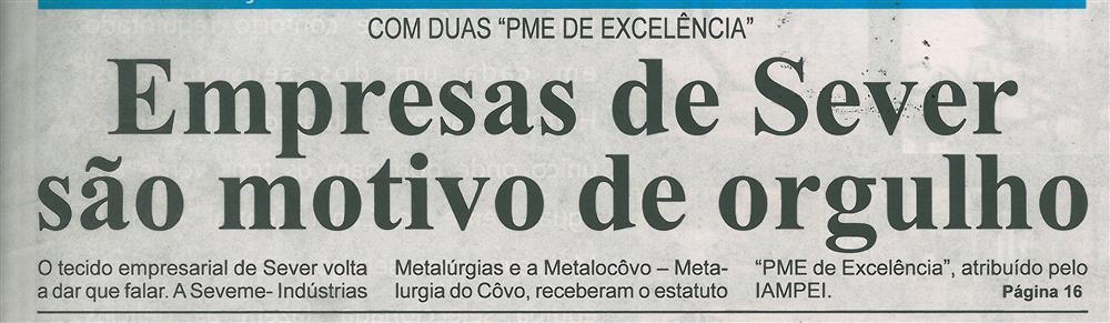 BV-2.ªfev.'16-p.1-Empresas de Sever são motivo de orgulho : com duas PME de Excelência.jpg