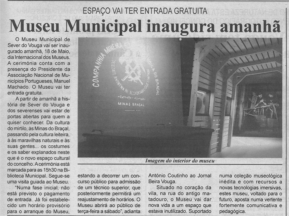 BV-2.ªmaio'16-p.3-Museu Municipal é inaugurado amanhã : espaço vai ter entrada gratuita.jpg