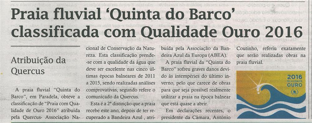 TV-jun.'16-p.13-Praia Fluvial Quinta do Barco classificada com Qualidade Ouro 2016 : atribuição da Quercus.jpg
