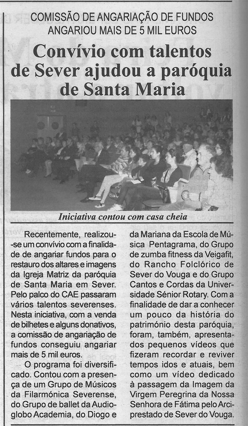 BV-2.ªjun.'16-p.6-Convívio com talentos de Sever ajudou a paróquia de Santa Maria : comissão de angariação de fundos angariou mais de 5 mil euros : iniciativa contou com casa cheia.jpg