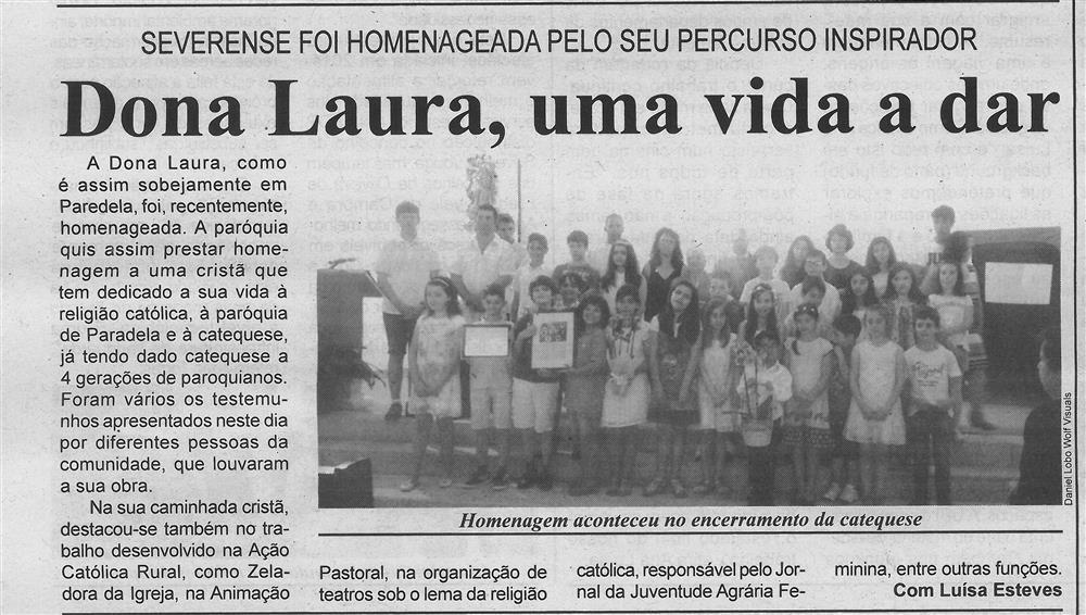 BV-2.ªjul.'16-p.6-Dona Laura, uma vida a dar : severense foi homenageada pelo seu percurso inspirador.jpg