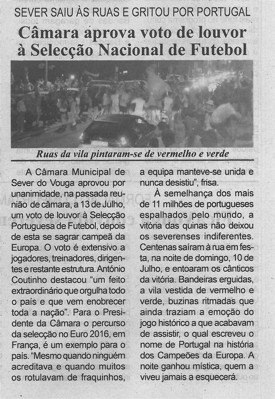 BV-2.ªjul.'16-p.4-Câmara aprova voto de louvor à Seleção Nacional de Futebol : Sever saiu às ruas e gritou por Portugal : ruas da vila pintaram-se de vermelho e verde.jpg