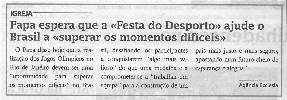 TV-ago.'16-p.5-Papa espera que a Festa do Desporto ajude o Brasil a superar os momentos difíceis.jpg