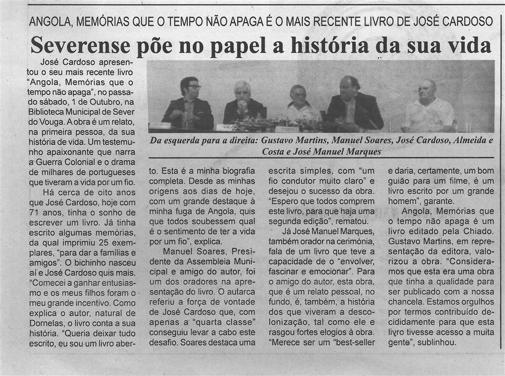 BV-1.ªout.'16-p.7-Severense põe no papel a história da sua vida : Angola, memórias que o tempo não apaga é o mais recente livro de José Cardoso.jpg
