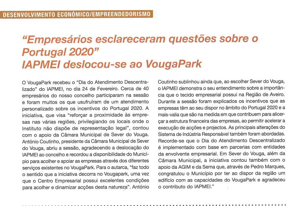 BoletimMunicipal-nº 33-nov'16-p.14-Empresários esclareceram questões sobre o Portugal 2020 : IAPMEI deslocou-se ao VougaPark.jpg