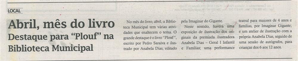 TV-abr.'17-p.16-Abril, mês do livro : destaque para Plouf na Biblioteca Municipal.jpg