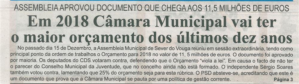 BV-2.ªdez.'17-p.1-Em 2018 [a] Câmara Municipal vai ter o maior orçamento dos últimos dez anos.jpg