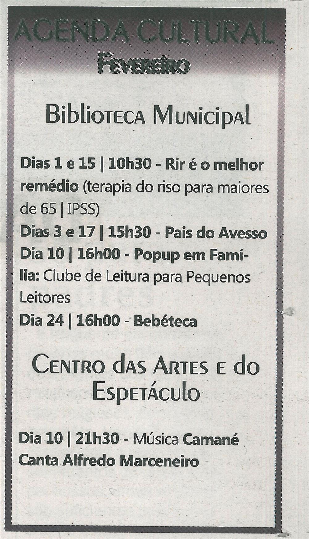 TV-fev.'18-p.23-Agenda cultural [de] fevereiro : Biblioteca Municipal : Centro das Artes e do Espetáculo.jpg