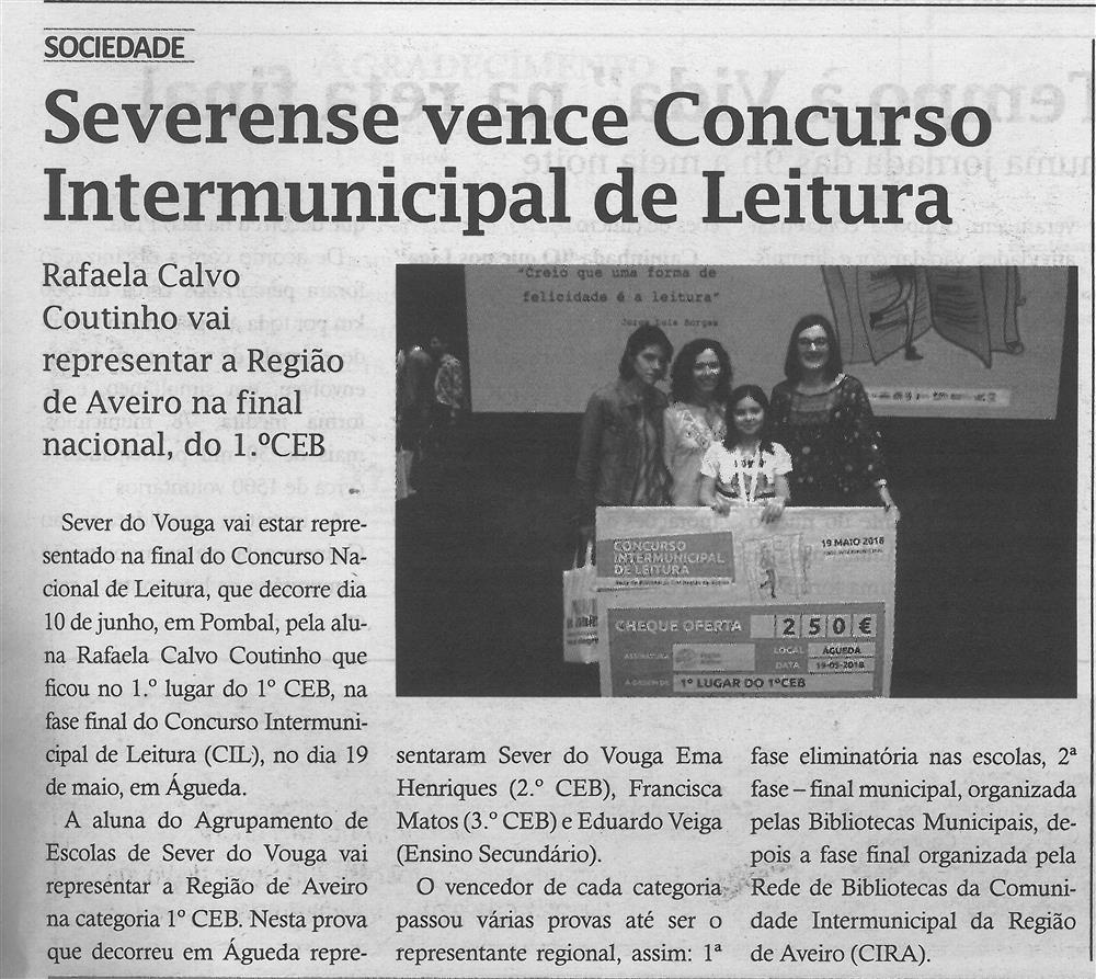 TV-jun'18-p.3-Severense vence Concurso Intermunicipal de Leitura : Rafaela Calvo Coutinho vai representar a Região de Aveiro na final nacional do 1.º CEB.jpg