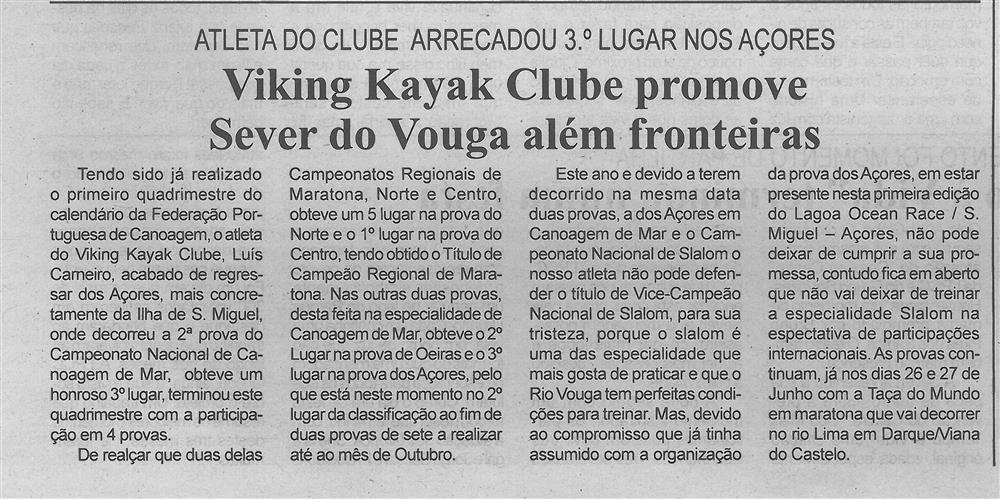 BV-2.ªjun.'18-p.6-Viking Kayak Clube promove Sever do Vouga além fronteiras : atleta do Clube arrecadou 3.º lugar nos Açores.jpg