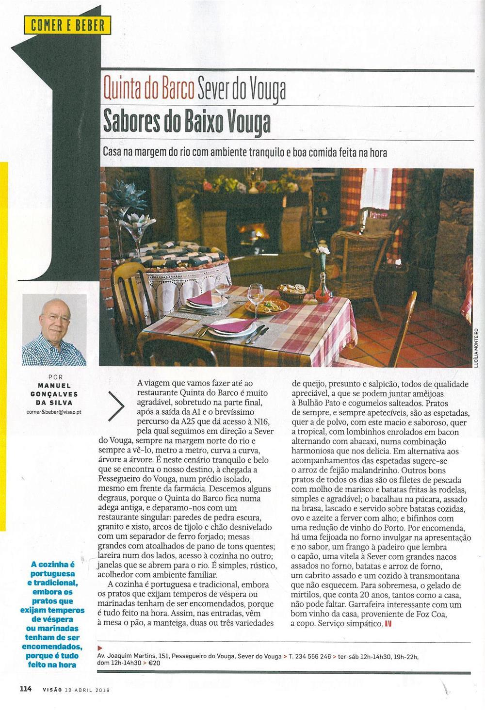 Visão-19abr'18-p.114-Sabores do Baixo Vouga : Quinta do Barco : Sever do Vouga.jpg