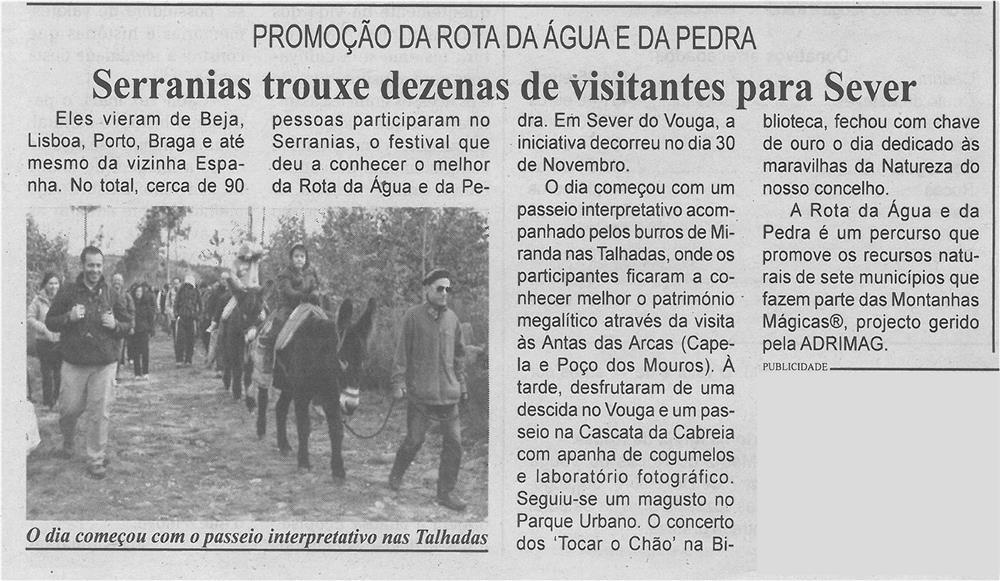BV-1.ªdez.'14-p.3-Serranias trouxe dezenas de visitantes para Sever : promoção da Rota da Água e da Pedra.jpg