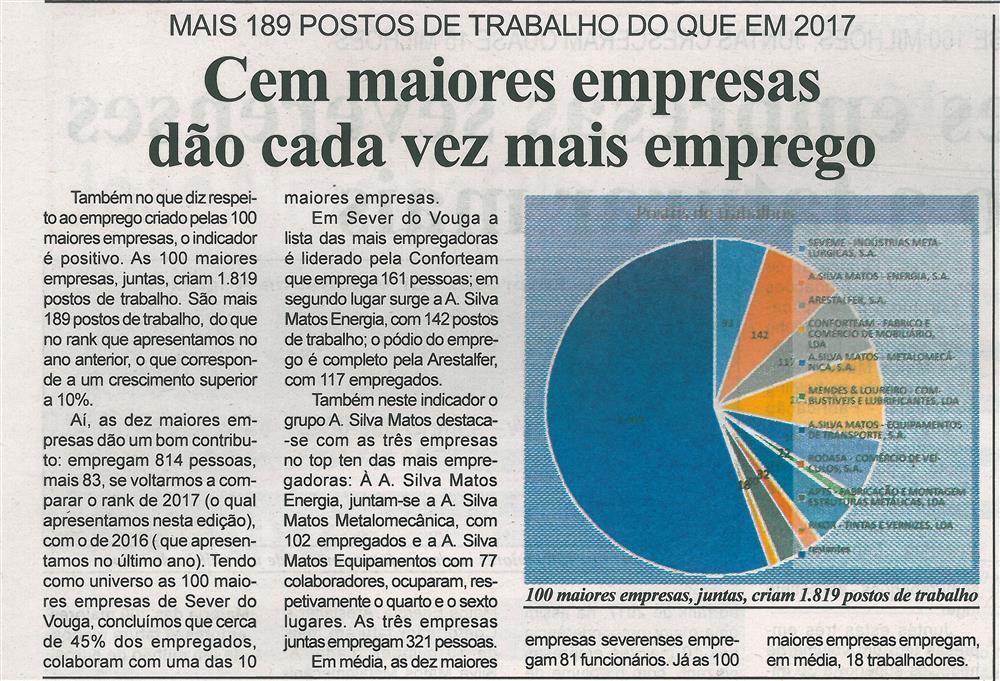 BV-1.ªnov.'18-p.8-Cem maiores empresas dão cada vez mais emprego : 100 maiores empresas de Sever do Vouga.jpg