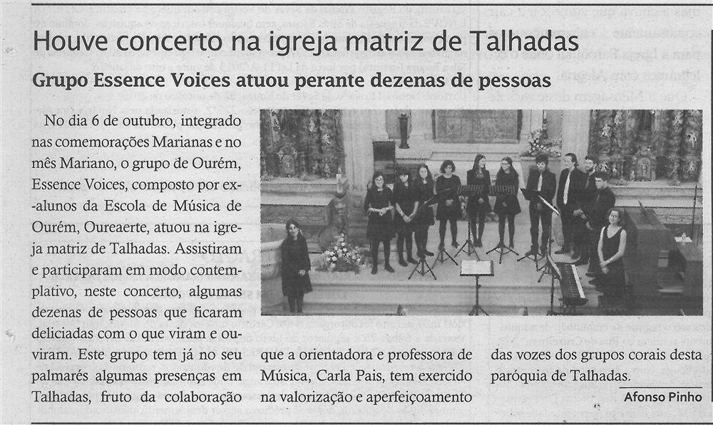 TV-nov.'18-p.14-Houve concerto na Igreja Matriz de Talhadas : Grupo Essence Voices atuou perante dezenas de pessoas.jpg