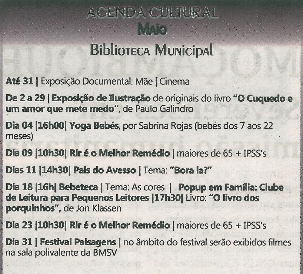 TV-maio'19-p.15-Agenda Cultural [de] maio : Biblioteca Municipal.jpg