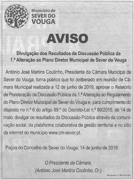 DA-16jul.'19,p.11-Divulgação dos resultados da discussão pública da 1.ª alteração ao Plano Diretor Municipal de Sever do Vouga.JPG