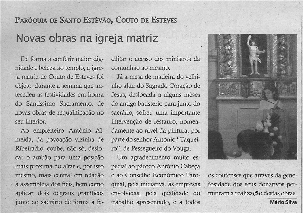 TV-ago.'19-p.15-Novas obras na Igreja Matriz : paróquias e freguesias : Paróquia de Santo Estêvão, Couto de Esteves.jpg