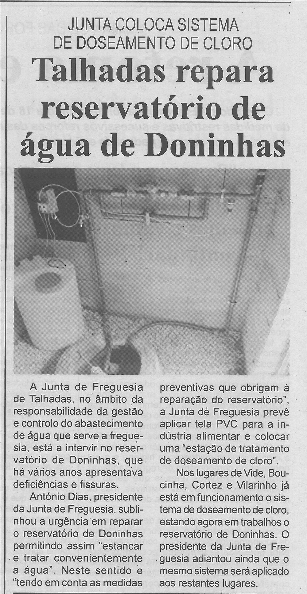 BV-1.ªmaio'20-p.4-Talhadas repara reservatório de água de Doninhas : Junta coloca sistema de doseamento de cloro.jpg