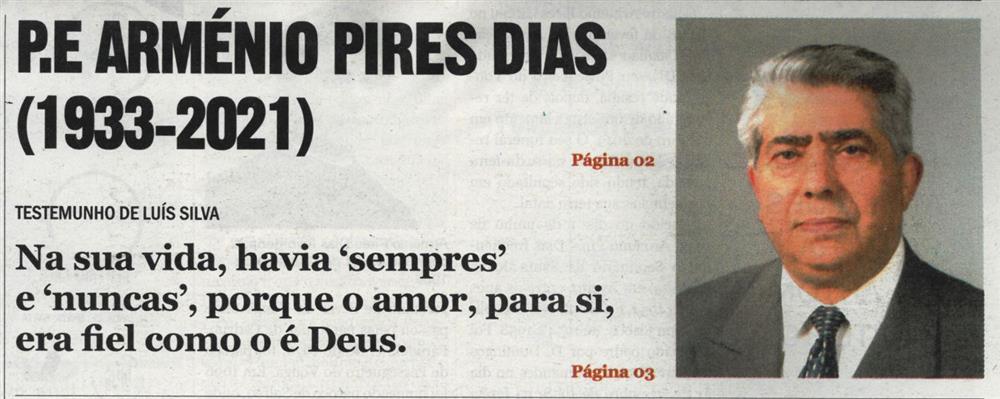CV-24fev.'21-p.1-Pe. Arménio Pires Dias (1933-2021) : testemunho de Luís Silva : na sua vida, havia 'sempres' e 'nuncas', porque o amor, para si, era fiel como o é Deus.JPG